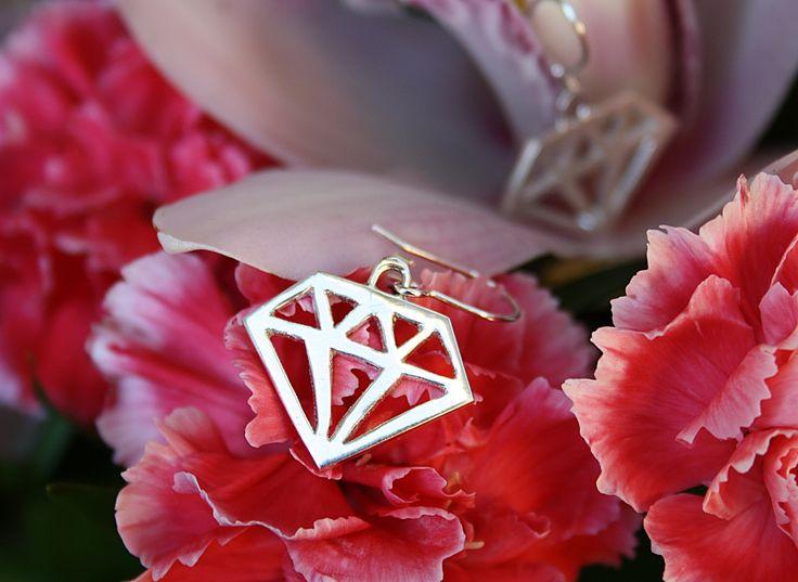 Diamond silver earrings hand made