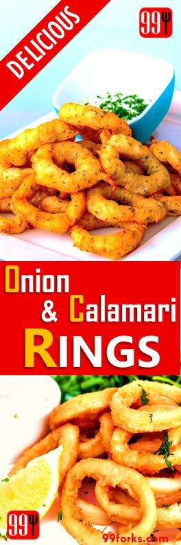 Onion and Calamari Rings have to be amongst the all-time classic appetizer to enjoy, here's a great recipe for you to cook them at home and have everybody raving about them.
