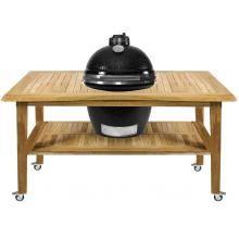 Kamado Joe ClassicJoe Ceramic Grill With Stainless Bands On Eucalyptus Table - Black : BBQ Guys