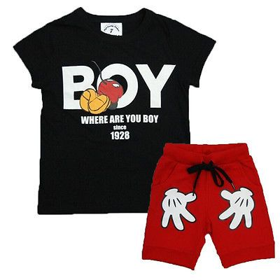 2pcs clothing set !! toddler boy kids minnie mouse short sleeve tops t shirt +cartoon shorts for 2-7Y kids //Price: $US $5.50 & FREE Shipping //     #fashion