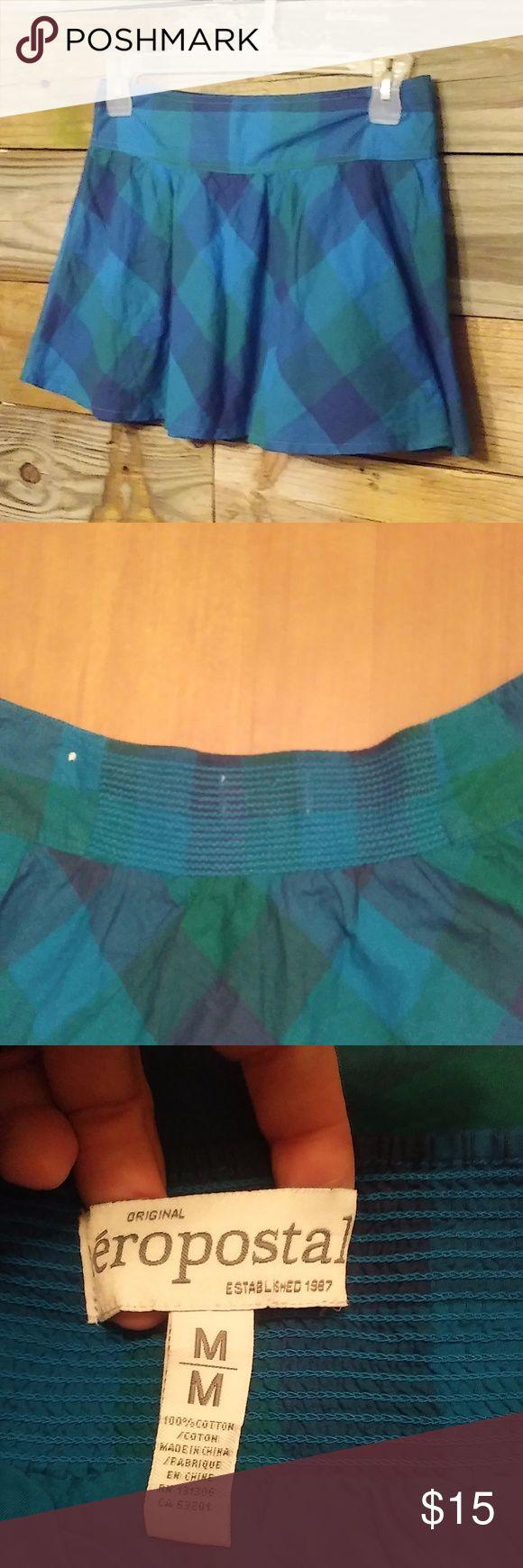 Aeropostale plaid cotton skirt like new 100% cotton Aeropostale plaid skirt features elastic waist in the back.  Slip on style. Aeropostale Skirts Mini