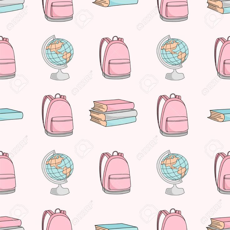 SCHOOLBAG AND GLOBE School Education Background Seamless Pattern Vector Illustra…