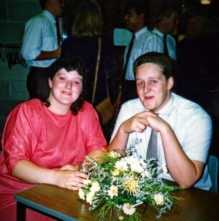 Alison Marie and Nige 1990 Steve Hills engagement Wordsley Comm Centre