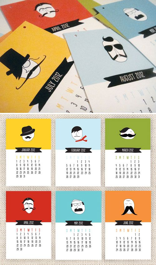 mustache calendar  I like the simple colour schemes and simple illustrations