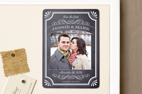 A Chalkboard Marriage Save the Date Magnets by Erin Deegan at minted.com
