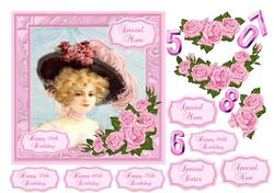 Vintage lady birthday card with decoupage pink roses  choice of recipients and ages on Craftsuprint - View Now!