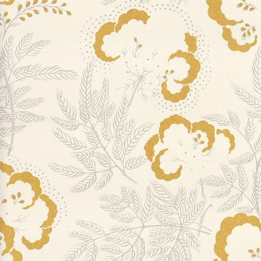 Cloud Garden Wallpaper A pretty floral wallpaper in grey and ochre. Part of a collection inspired by the work of British designer Ernest Gimson. Designed, manufactured and printed in the United Kingdom.
