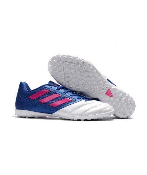 Adidas ACE 17.4 TF Zapatillas Futbol Sala Leather Hombres Blanco Azul Rosa Botas De Fútbol