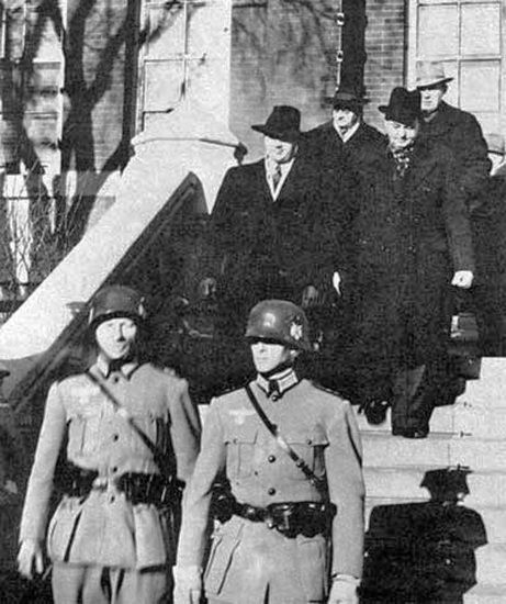 Actors dressed as Nazis rounded up local politicians, including Premier John Bracken, Mayor John Queen, and Manitoba's Lieutenant Governor Roland Fairbairn McWilliams, and marched them away to a prison camp. It was part of a huge staged invasion in Winnipeg on Feb. 19, 1942 called IF Day, designed to scare people into donating money to Victory Loans.