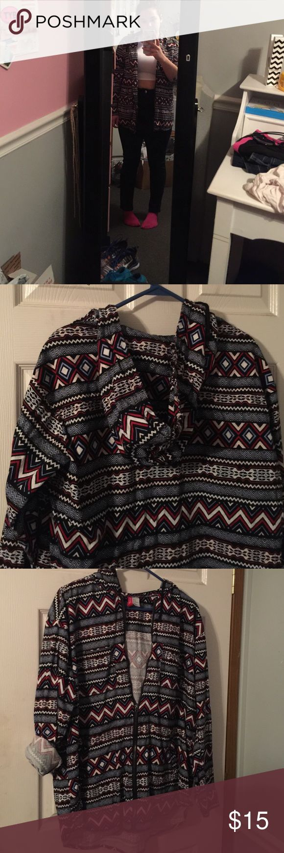 H&M Aztec zip-up jacket Aztec print zip-up jacket. perfect for fall weather. and is very versatile... can pair with several different outfits for multiple occasions. ****also has blue and white in it. Divided Sweaters Cardigans