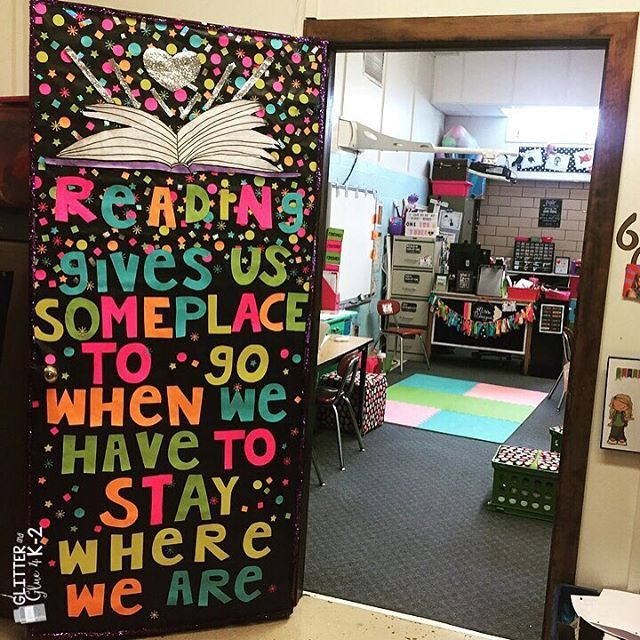 Fun door decorations for Right to Read Week! Glitter and confetti! Keywords: confetti, classroom decor, neon, right to read week, readings doors, classroom door, door, decorations #Regram via @glitterandglue4k2