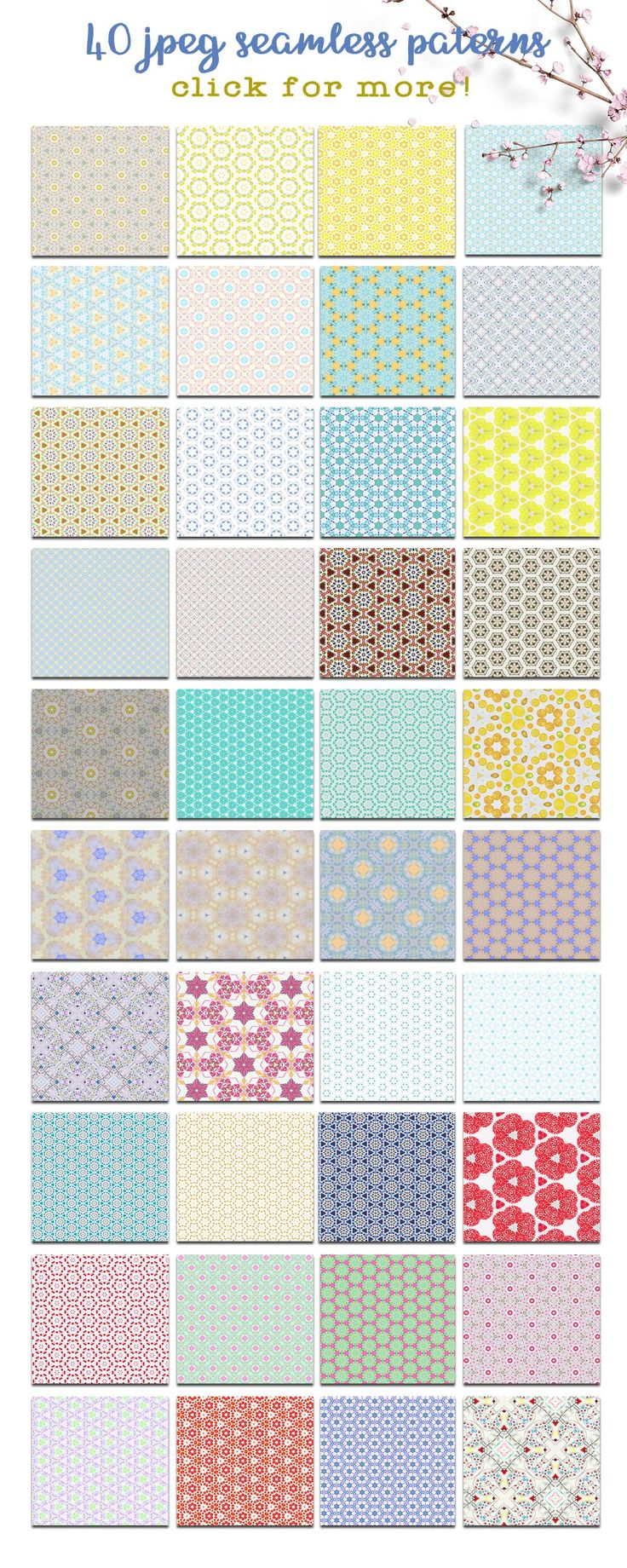 **40 Handcrafted Vintage Seamless Patterns - PROMO Price 5$!** I am glad to present you my new product! All the patterns are made from my hand painted watercolor artworks and my hand drawn doodles. The collection has 40 seamless patterns - jpeg. files and 12 seamless PSD patterns that you can apply with 1 click and then customize as you wish.
