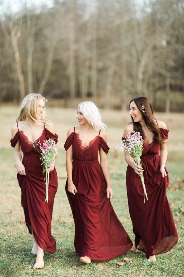 These bordeaux bridesmaids dresses would make the perfect accent for a vineyard wedding!
