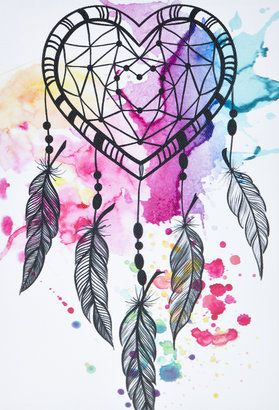 Forever 21 Paint-Splattered Dreamcatcher Canvas