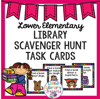 This pack includes 32 Library Scavenger Hunt Task Cards suitable for lower elementary.  Because these are for the lower grades I have made the instructions simple and clear, the cards and writing larger and included a picture to represent the task.  These cards include simple questions appropriate for lower elementary such as:  - Find a book about a dog - Find a book about insects - Find a book that is set at the beach - Find a book that is non-fiction  And 28 more!  This pack also includes…