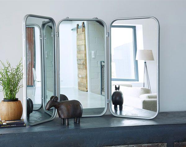 Grand miroir de barbier triptyque