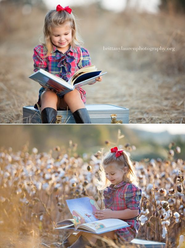 Little girl reading a book in a cotton field at sunset. Great children photography session idea. What to wear for family session. by Brittany Lauren Photography www.brittanylaurenphotography.org