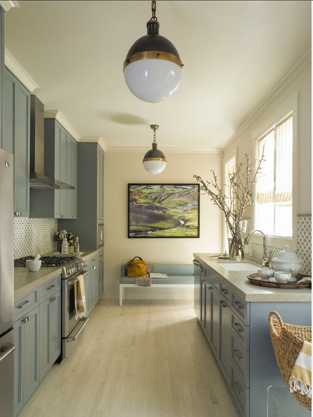 """Kitchen Paint Color.   Kitchen Cabinet Paint Color is """"Christopher Peacock CPPI-22 Cookham Gray"""".  Wall Paint Color is """"Benjamin Moore OC-1 Natural Wicker"""".  Angela Free Design."""