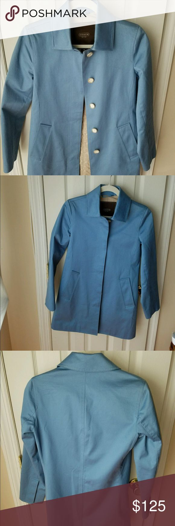 Coach Trench Coat Single Breasted - Cornflower XS COACH Trench Coat in Cornflower Blue (EUC)! Perfect for Spring ! Size: XS Coach Jackets & Coats Trench Coats
