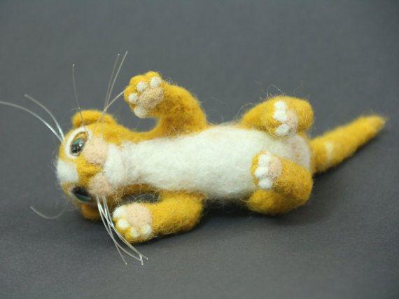 Miniature Kitten Needle Felt Cat Art Cat Doll by KNartDesign