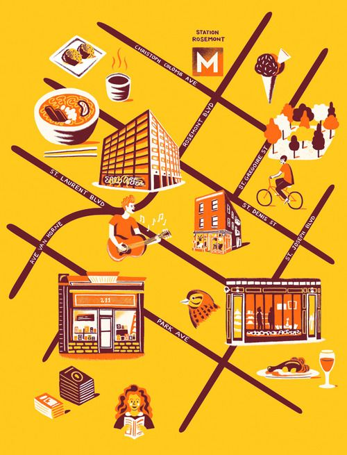 Map of Mile End district of Montreal - Dan Gray for Computer Arts Magazine
