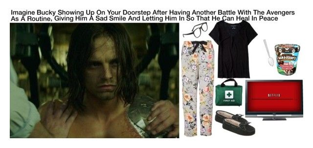 """""""Imagine Bucky Showing Up On Your Doorstep After Another Battle With The Avengers As A Routine, Giving Him A Sad Smile And Letting Him In So That He Can Heal In Peace"""" by alyssaclair-winchester ❤ liked on Polyvore featuring Aéropostale, Larke, Minnetonka, Sony, Georg Jensen, imagine, Avengers, marvel, buckybarnes and TheWinterSoldier"""