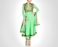 Green georgette anarkali is donned with zardosi embroidered sleeveless jacket. Shop Now: www.kimaya.in