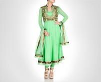Green georgette anarkali is donned with zardosi embroidered sleeveless jacket. Shop Now: www.kimaya.in