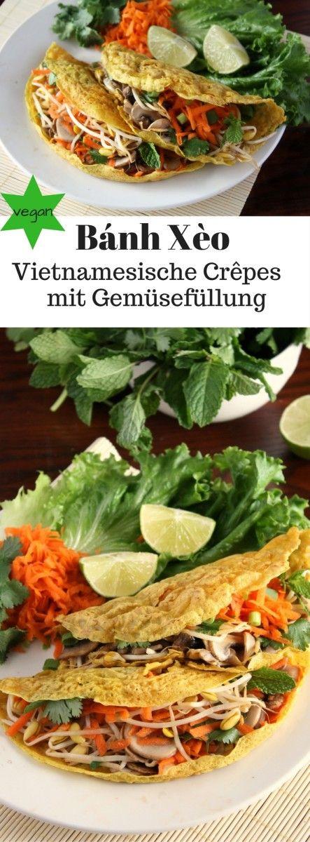 Knusprige Vietnamesische Pfannkuchen / Crêpes (Bánh Xèo). Vietnamesische Pfannkuchen aus Reismehl und Kokosmilch kommen ohne Ei aus und sind somit vegan! Dazu: Eine knackige Gemüse-Kräuterfüllung! Gesund und lecker. – vegan