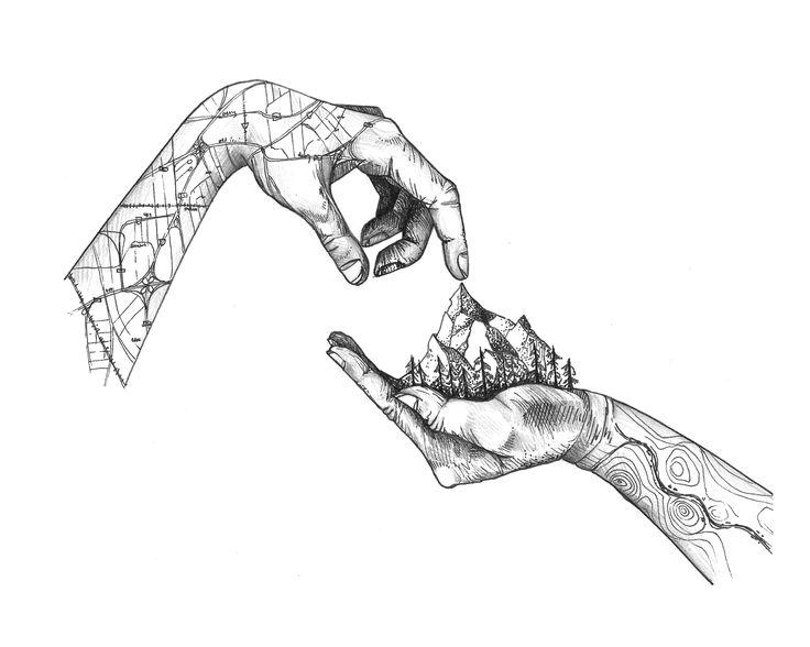 Hands Love Nature Illustration
