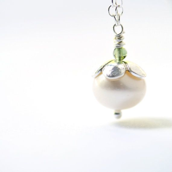 Pearl Jewelry Sterling Silver Necklace June by LittleAppleNY, $40.00