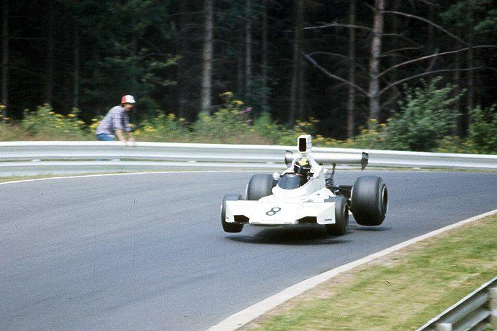 1974. XXXVI Grosser Preis von Deutschland. Nürburgring. Carlos Pace suspended in the air with his Brabham BT44. Fly an slideway togheter.