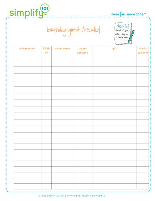 42 Best Checklist (Printable) Images On Pinterest | Birthday Party