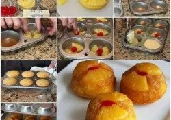 Cupcake de abacaxi de cabeça para baixo