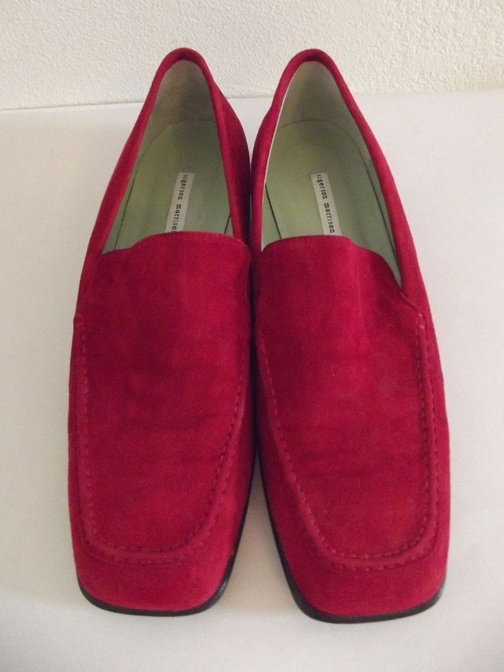 Sigerson Morrison size 10 Red Suede Slip On Italian Loafer Leather Sole......60V #SigersonMorrison #LoafersMoccasins