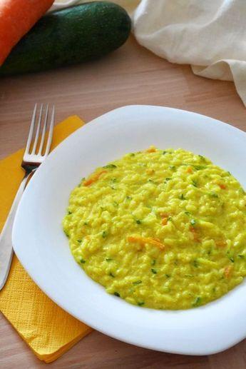 Risotto cremoso zucchine e carote alla curcuma