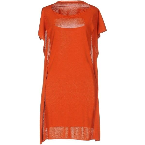 Liviana Conti Short Dress ($72) ❤ liked on Polyvore featuring dresses, orange, viscose dresses, sleeveless dress, short orange dress, orange sleeveless dress and orange mini dress
