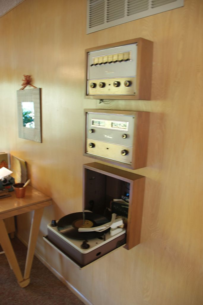 Incredible MCM built-in stereo system with slide-out turntable (or does it fold-up?) It does fold up!