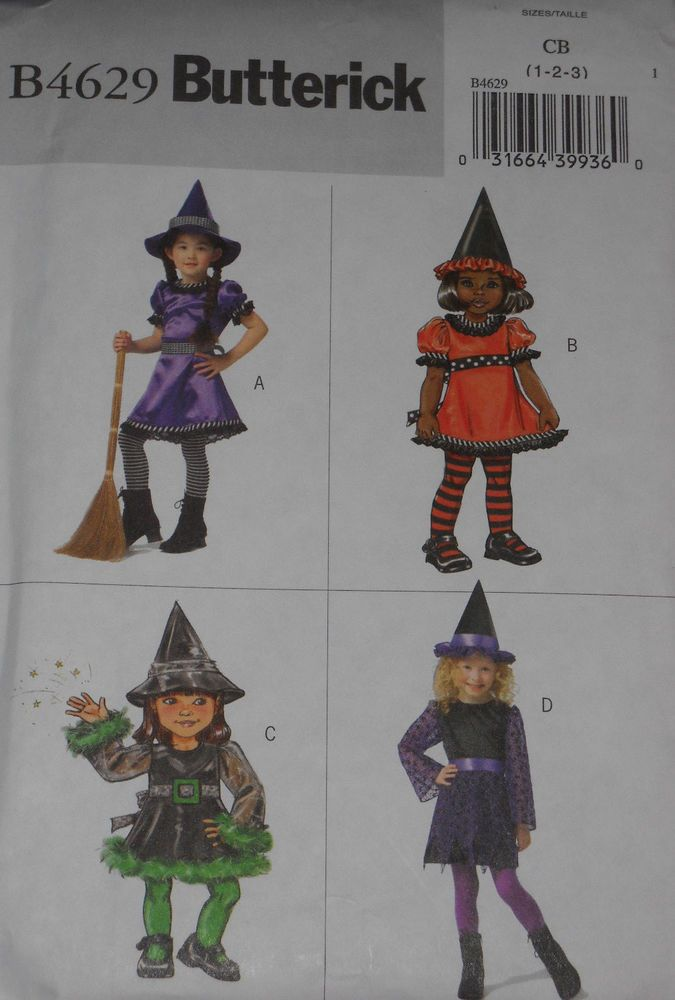 Toddler Girls Easy Witch Costumes size 1-3 Butterick 4629 Sewing Pattern #Butterick