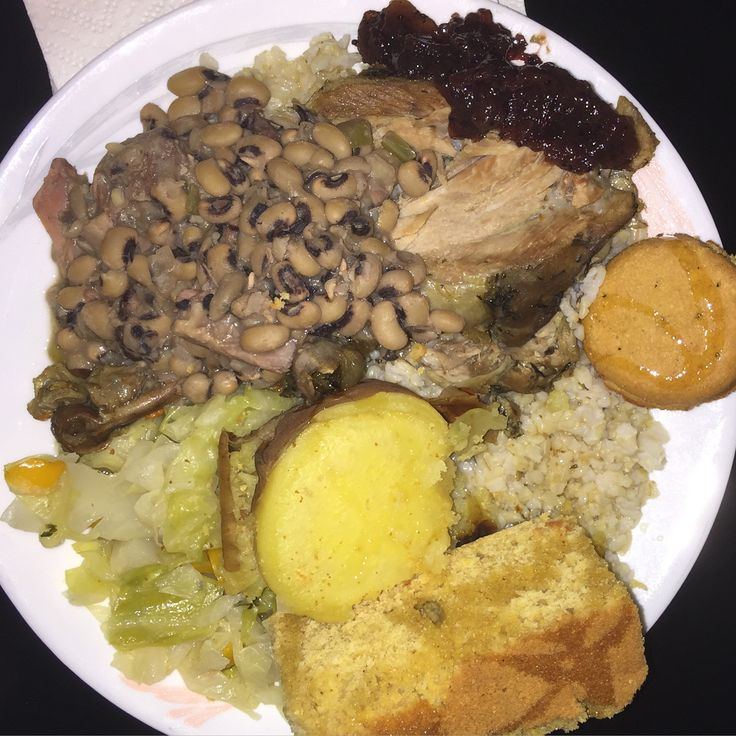 My #sisterfriend threw down with this #healthy #homemade #soulfood #meal. #yummytomytummy #baked #sweetpotatoe #brownrice #blackeyedpeas #cabbage with #turkey #bacon #cornbread sprinkled with a little #organic blue #agave baked #turkeylegs #cranberrysauce  it was such a treat. She is #awesome! #healthyeating #LOVEit #eatclean  I am sooooo full and #happy.‼️