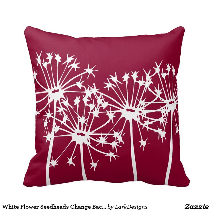 White Flower Seedheads Change Background Color Throw Pillow