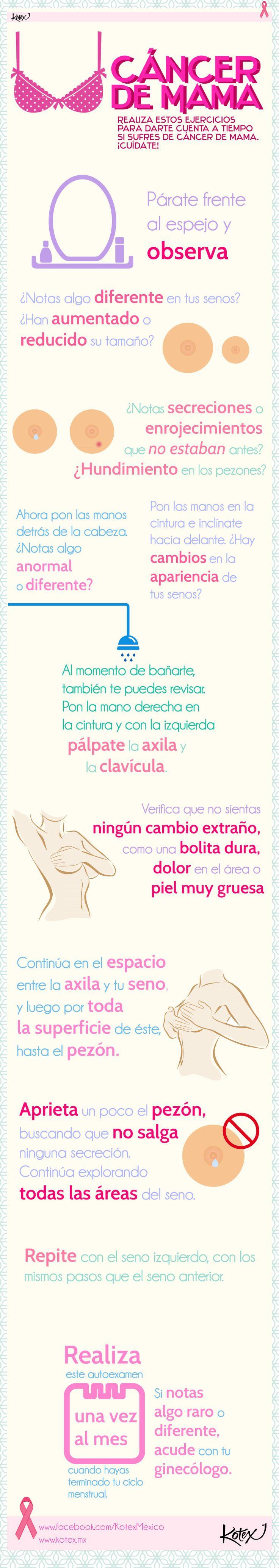 ¡Salva tu vida, realizando por lo menos una vez al mes el autoexamen de seno!