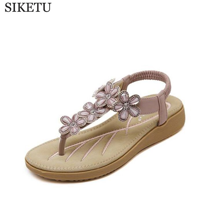 SIKETU 2017 Summers Sandals Exquisite Diamond Bohemian National Rhinestone Fashion Flat Shoes Woman Sandals Large Size Shoes z74 #Affiliate