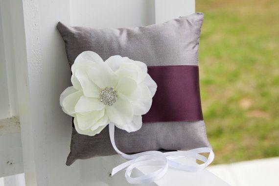 Purple Ring Bearer Pillow wedding pillow Lavender by MirelaOlariu