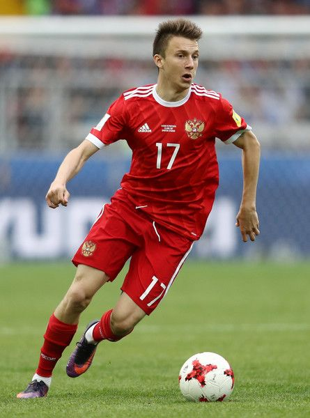 Aleksandr Golovin of Russia in action during the FIFA Confederations Cup Russia 2017 Group A match between Russia and Portugal at Spartak Stadium on June 21, 2017 in Moscow, Russia.