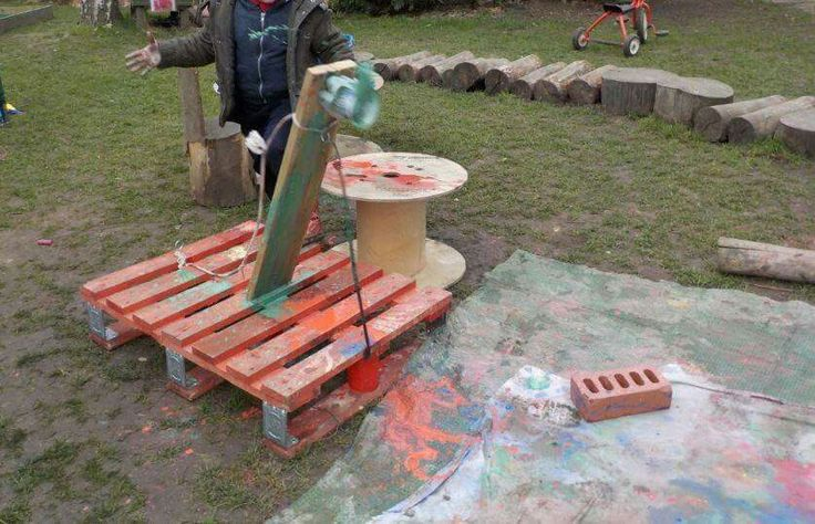Catapulting paint at Chadwell Pre-school