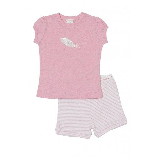 we just love these short summer pyjamas with a feather design on the top's front -perfect for apyjama party!the top is in pink marle with puff sleeves and the bottoms are white with pink stripes, havecuffed legs and an elastic waistband100% cotton, by huckleberry lane $42.95