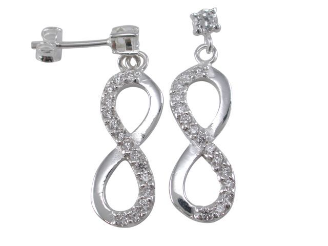 Sterling Silver 28x9mm White Cubic Zirconia Infinity Stud Earrings