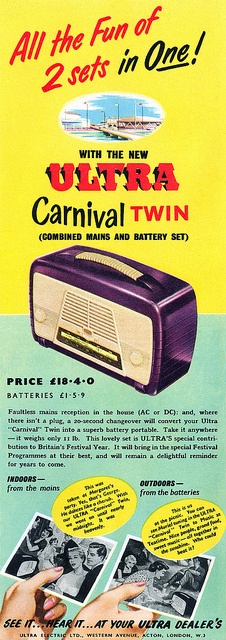 A very covetable royal purple hued 1950s radio.