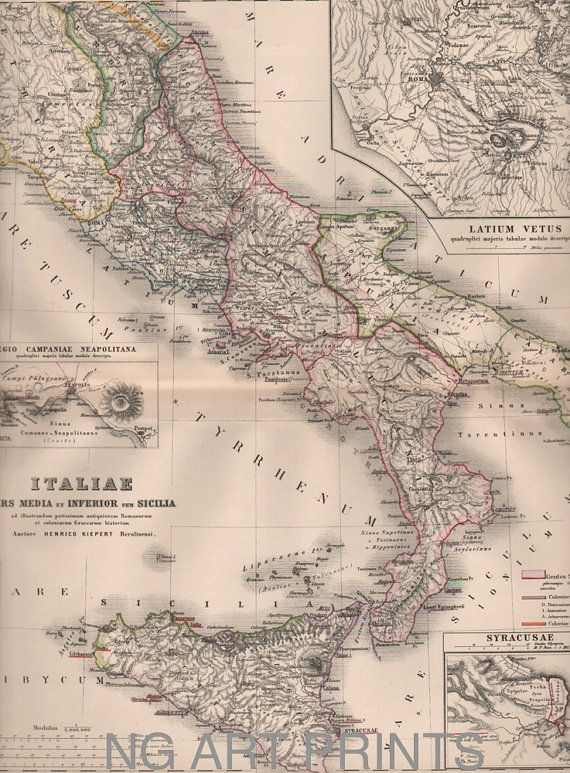 Italy Map 1800s Antique Map Italiae Hand Colored by NGArtPrints, $45.00